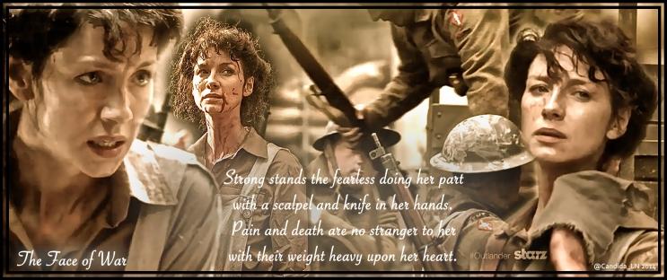 Claire Elizabeth Beauchamp Randall (Caitriona Balfe) is a WWII combat Nurse.