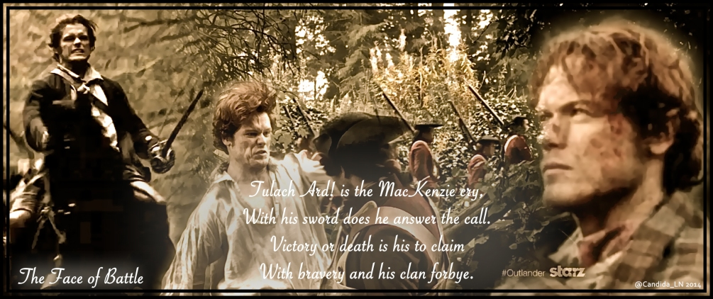 James Alexander Malcolm MacKenzie Fraser (Sam Heughan) is a Highland warrior.