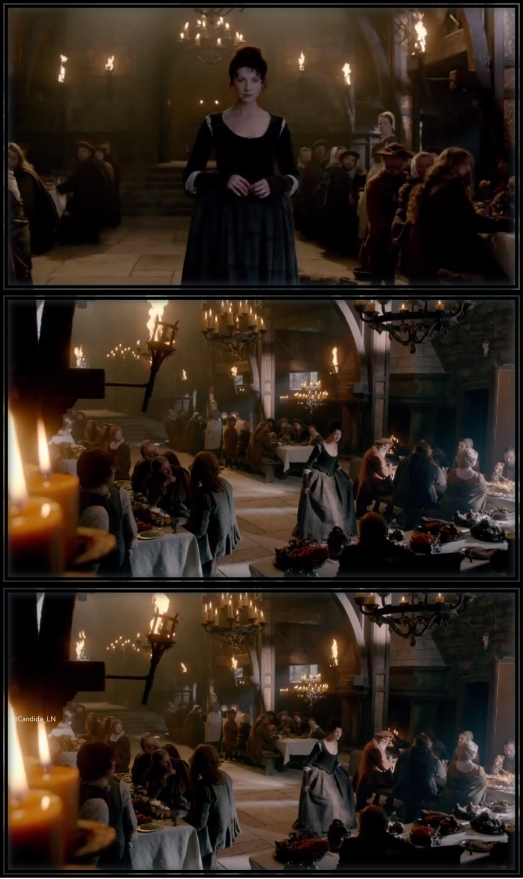 Claire (Caitriona Balfe) enters Leoch hall and curtsies to Colum before joining him for dinner.