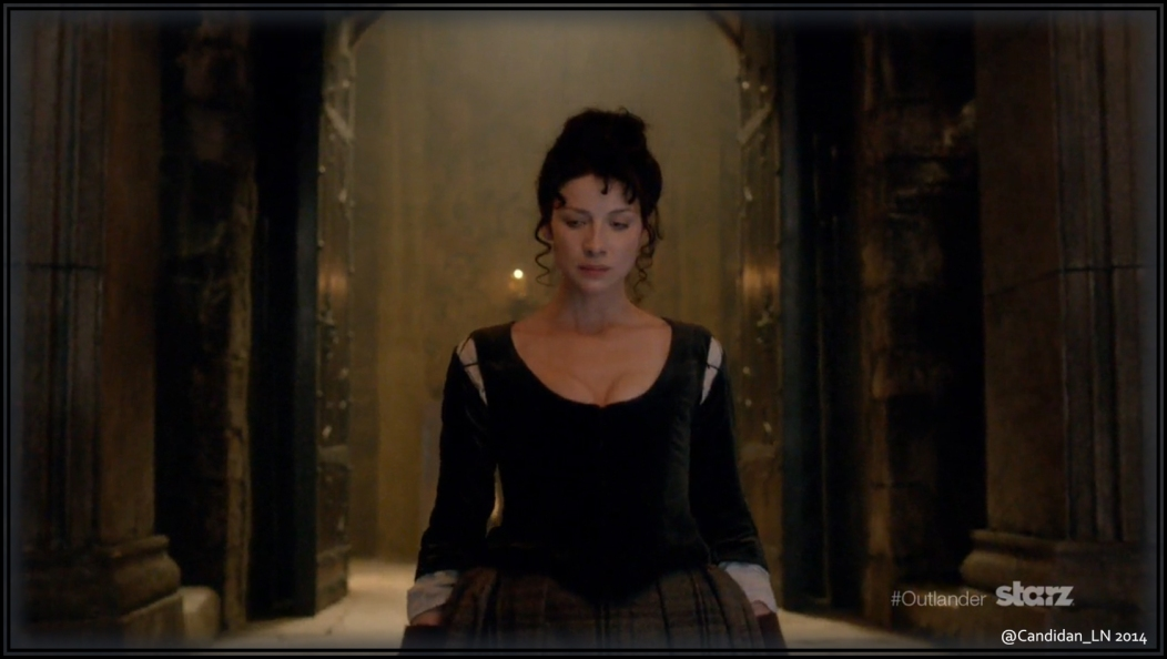Claire (Caitriona Balfe) enters Leoch Hall with all eyes on her.