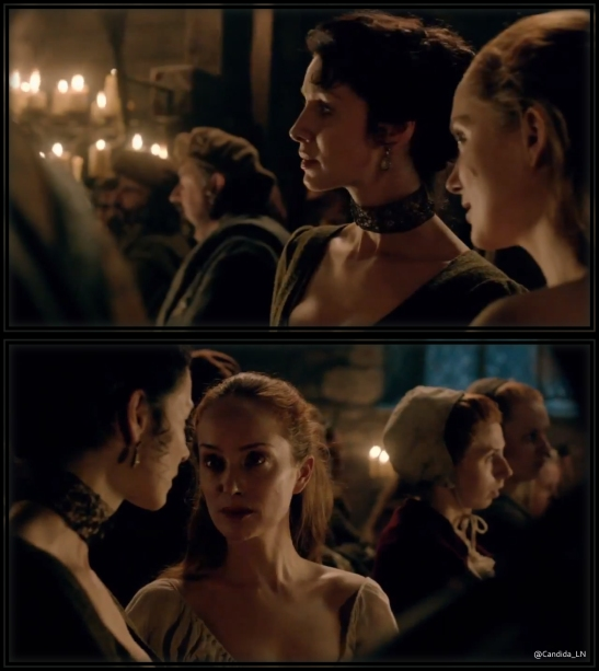 Claire (Caitriona Balfe) watches Jamie from the gallery with Geillis Duncan (Lotte Verbeek) beside her.