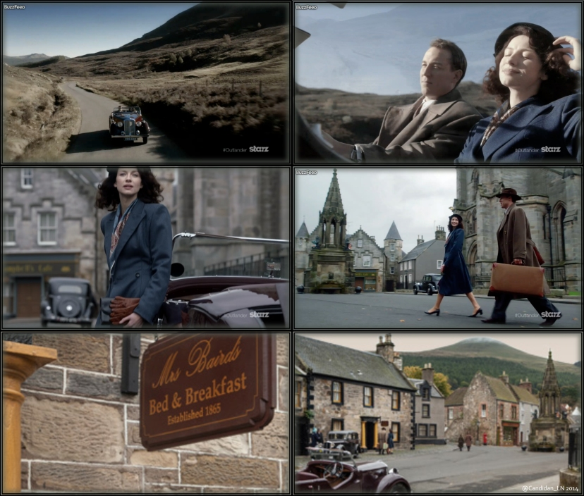 Claire (Caitriona Balfe) and Frank Randall (Tobias Menzies) on their second honeymoon to Inverness.