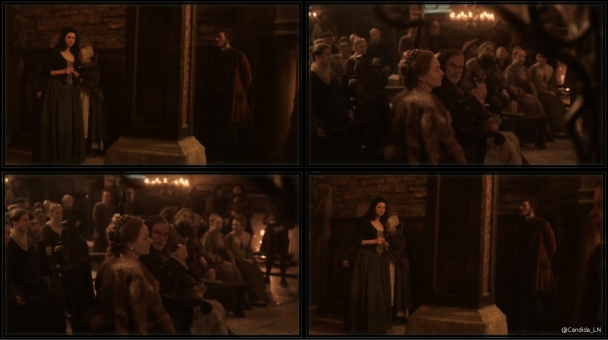 Claire (Caitriona Balfe) walks through Leoch hall, under Colum's (Gary Lewis) watchful eye.