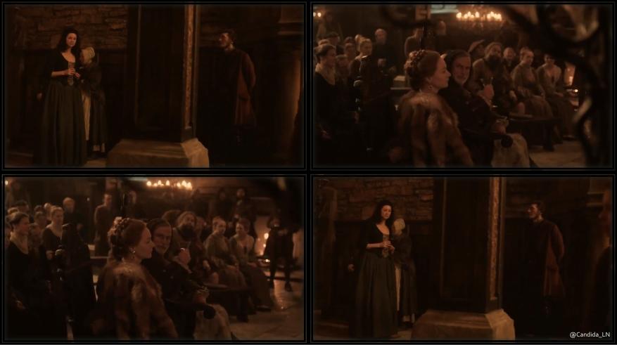 Claire (Caitriona Balfe) walks through Leoch hall, under Colum's (Gary Lewis) watchful eye.