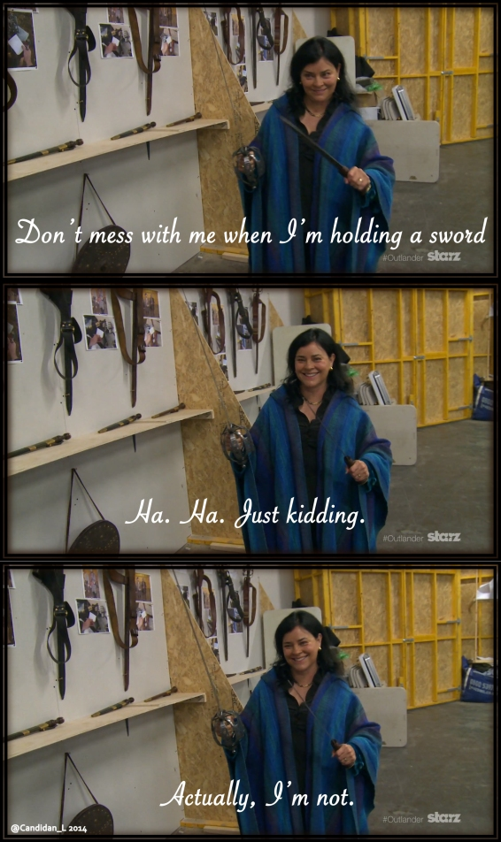 Diana Gabaldon (author of the Outlander series) has some fun in the Outlander armory.