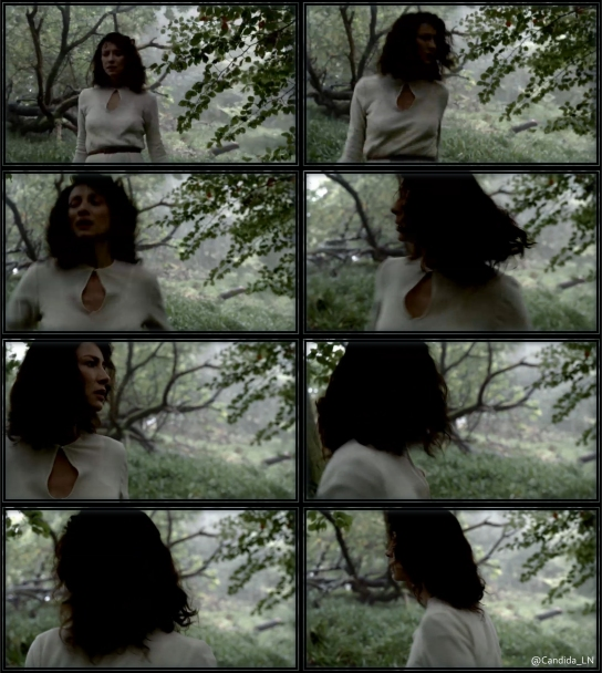 Claire (Caitriona Balfe) running through woods.