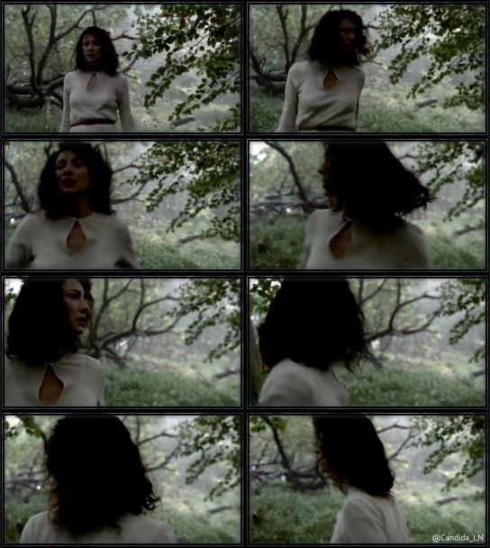 Claire (Caitriona Balfe) running through woods.