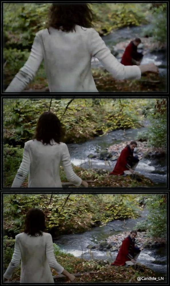 Claire (Caitriona Balfe) comes upon Jonathan Randall (Tobias Menzies).