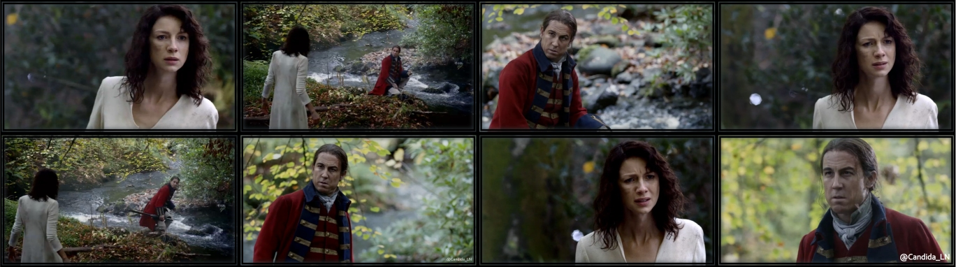 Claire (Caitriona Balfe) realizes Jonathan Randall (Tobias Menzies) is not who she thinks.