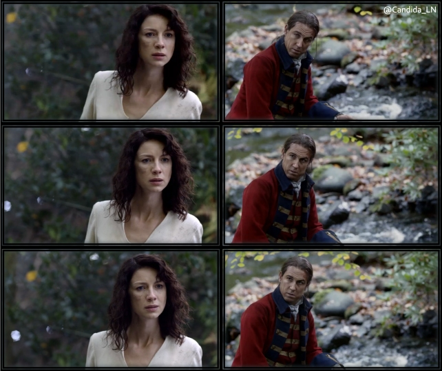 Claire (Caitriona Balfe) sees Jonathan Randall (Tobias Menzies) for the first time.