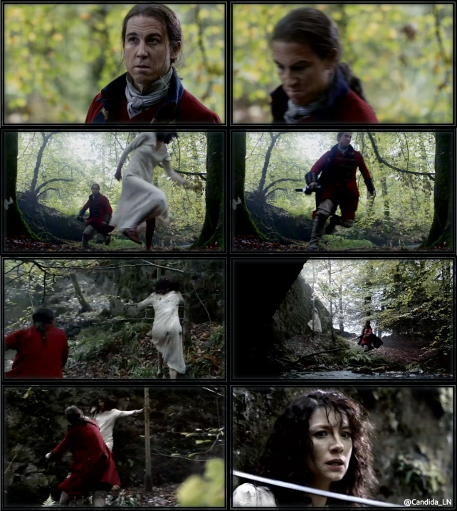 Claire (Caitriona Balfe) runs from the blood thirsty Black Jack Randall (Tobias Menzies).