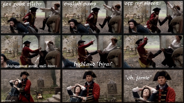 Jamie (Sam Heughan) fights to protect his sister, Jenny (Laura Donnelly). Captain Black Jack Randall (Tobias Menzies) gets the upper hand.