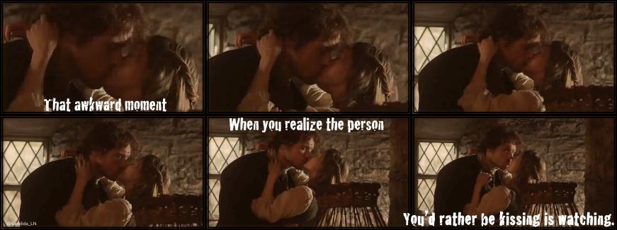 Jamie (Sam Heughan) caught kissing Laoghaire MacKenzie (Nell Hudson).