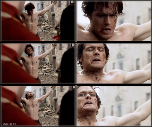 Jamie (Sam Heughan) takes a beating at the hands of Captain Randall.