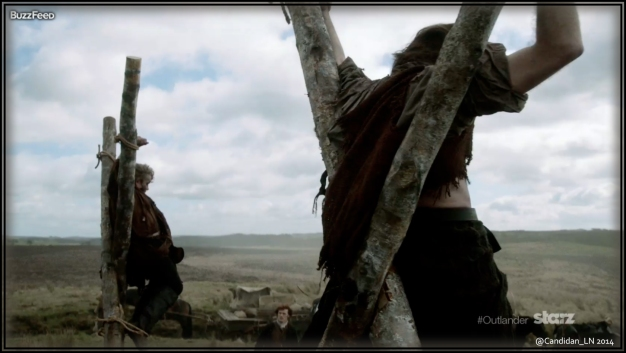 An intriguing picture of Jamie (Sam Heughan) passing some fellow Scots? horrifyingly strung up.