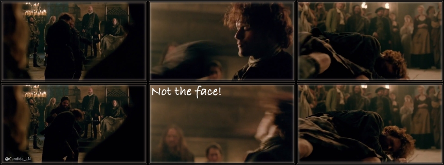 Poor Jamie (Sam Heughan) takes a beating in Castle Leoch hall.