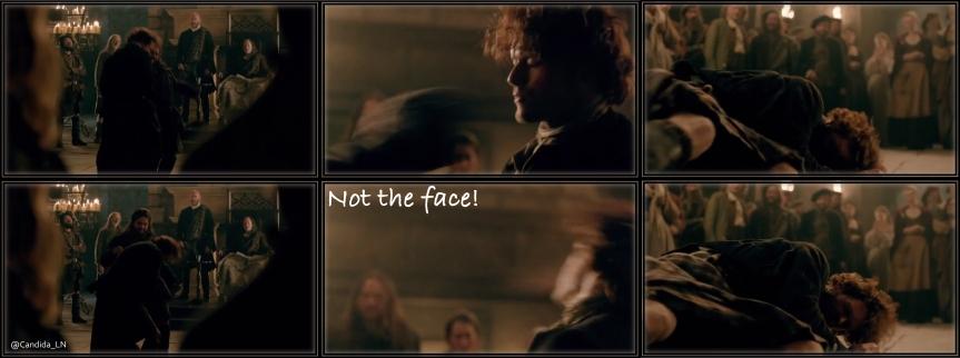 Poor Jamie (Sam Heughan) takes a beating in Castle Leoch hall.