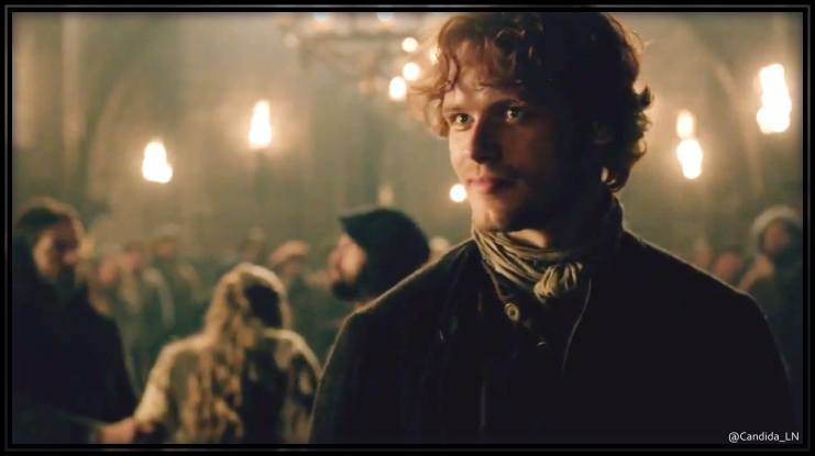With a twinkle in his eye, Jamie (Sam Heughan) offers to take Laoghaire's punishment.