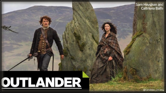 Jamie (Sam Heughan) and Claire (Caitriona Balfe) at Craigh na Dun to say goodbye.