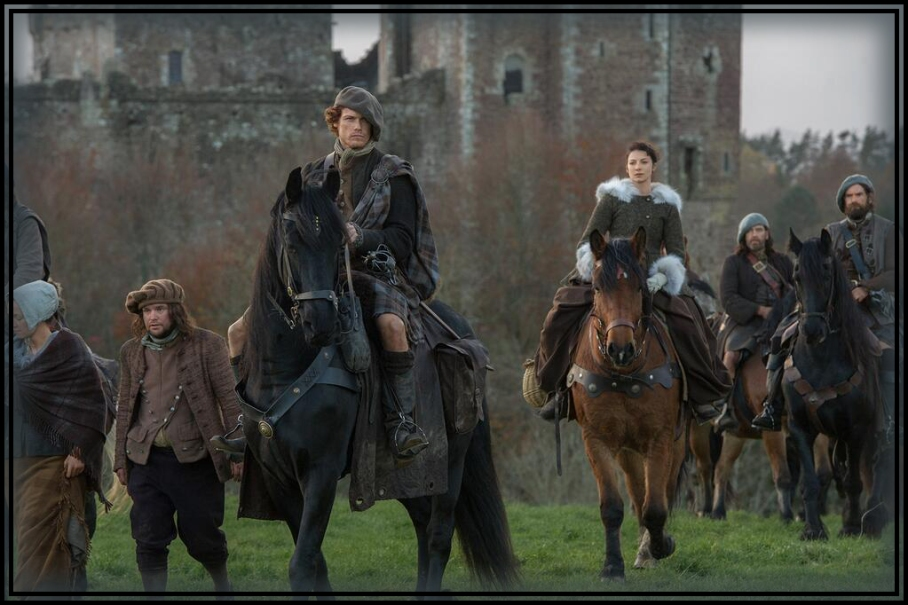 "NEW PIC: Jamie (Sam Heughan) and Claire (Caitriona Balfe) ride out to collect ""The Rent."""