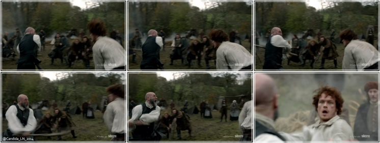 Jamie (Sam Heughan) and Dougal MacKenzie (Graham McTavish) showing off. Men.