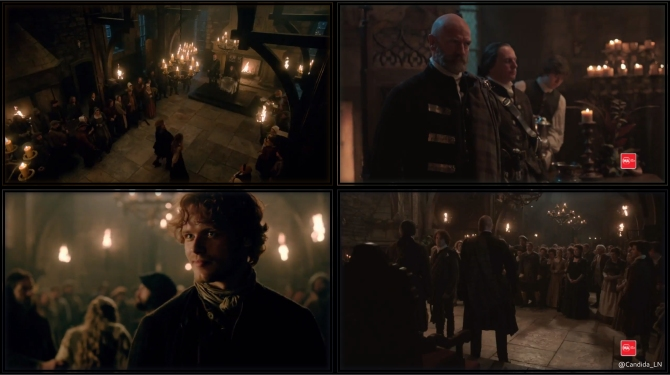 Jamies (Sam Heughan) steps forward for Laoghaire, facing his uncles, Dougal (Graham McTavish) and Colum MacKenzie (Gary Lewis).