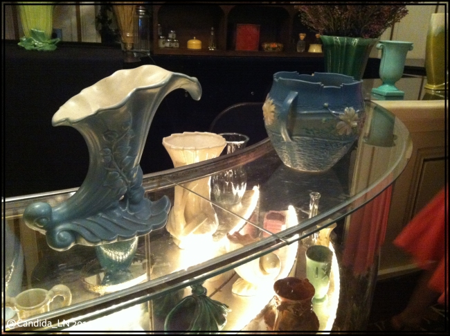 Vases from the shop window in Inverness during Claire's opening scene.