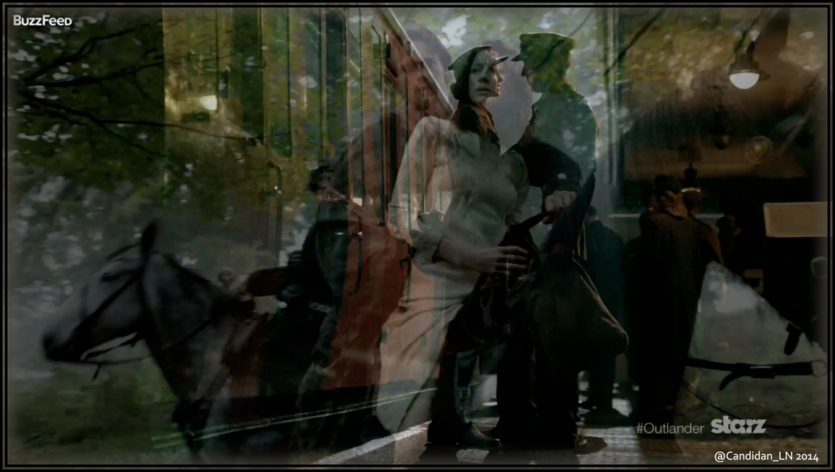 Claire (Caitriona Balfe) and Frank Randall (Tobias Menzies) on a train platform superimposed over Claire with Jamie (Sam Heughan).