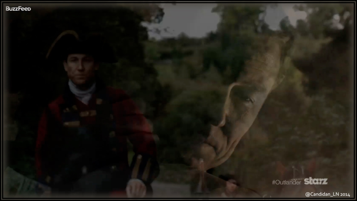 Frank Randall (Tobias Menzies) hugs Claire, while his six-times great grandfather makes his way toward Lallybroch.