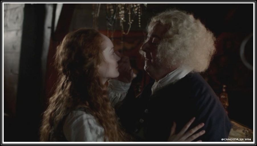 Arthur Duncan (John Session) being seduced into submission by his wife, Geillis (Lotte Verbeek).