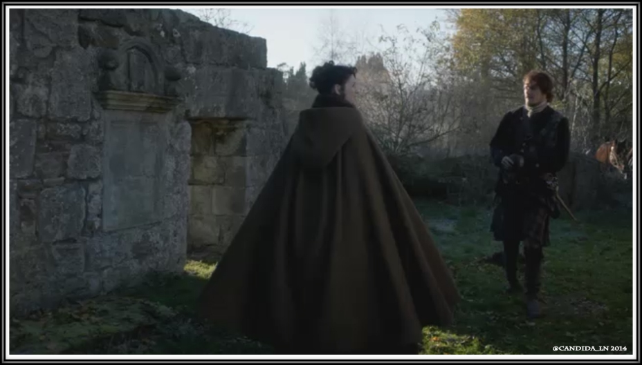 Claire (Caitriona Balfe) and Jamie (Sam Heughan) at the Black Kirk.