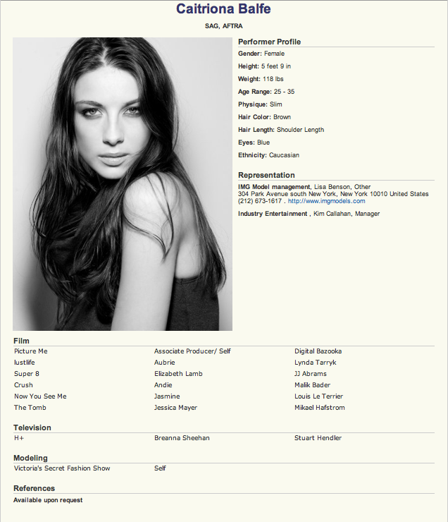 Caitriona Balfe Resume, courtesy imdb.com