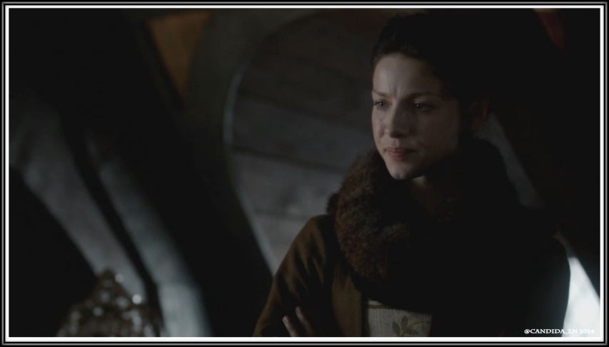 Claire (Caitriona Balfe) does not like seeing Arthur with Geillis.
