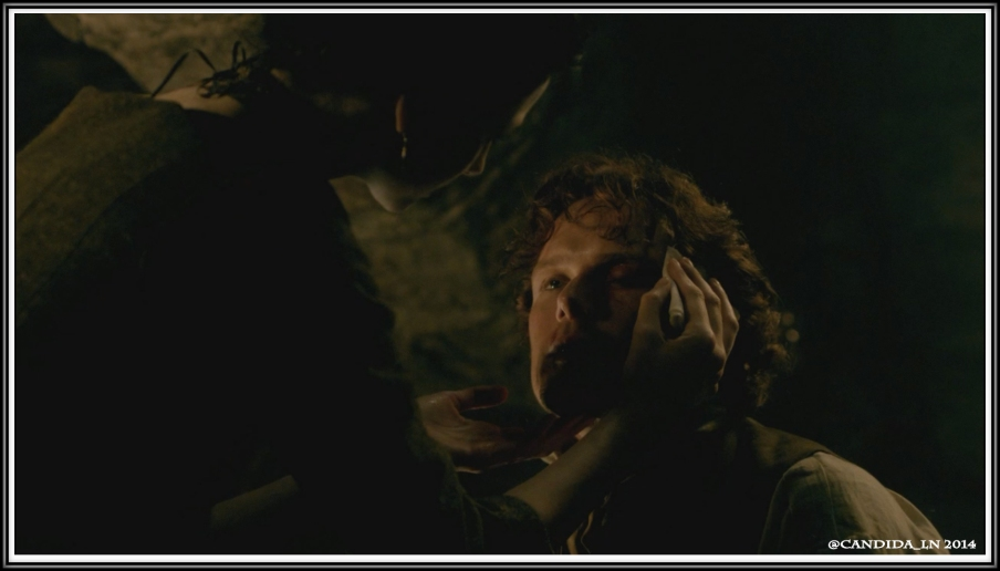 Claire (Caitriona Balfe) nurses Jamie (Sam Heughan) again.