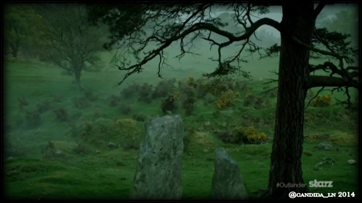 Claire (Caitriona Balfe) running toward or away from someone.