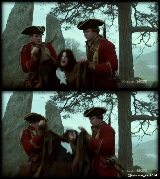 Claire Randall (Caitriona Balfe) being manhandled by a couple of Redcoats.