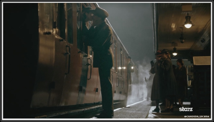 Claire (Caitriona Balfe) and Frank Randall (Tobias Menzies) say goodbye at the start of World War II.