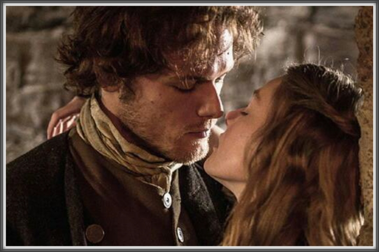 EP103: Jamie (Sam Heughan) steals a kiss from Laoghaire MacKenzie (Nell Hudson).