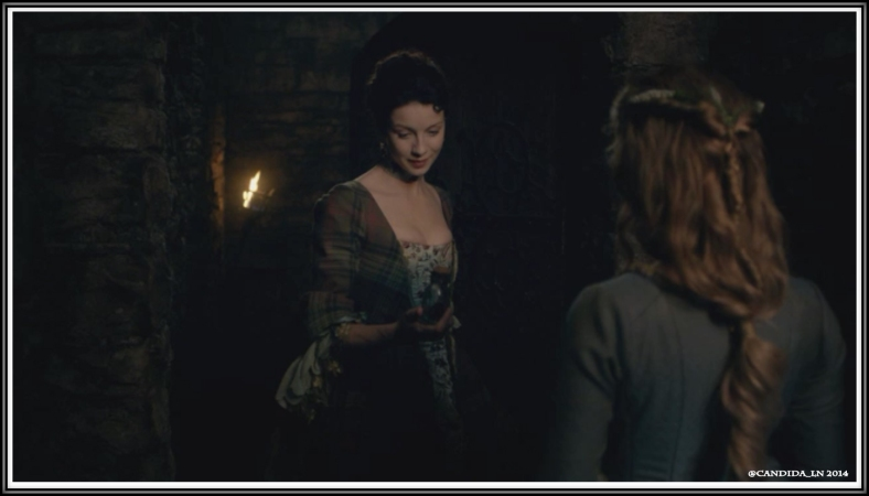 Claire (Caitriona Balfe) gives Laoghaire MacKenzie (Nell Hudson) a love potion. Should have told her to sprinkle it over her parritch.