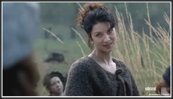 Claire (Caitriona Balfe) is in no hurry to return to Castle Leoch with her shadows. Expression: Too bad.