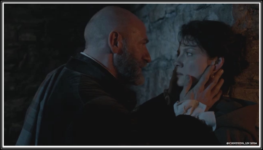 Dougal (Graham McTavish) wants his reward from Claire (Caitriona Balfe).