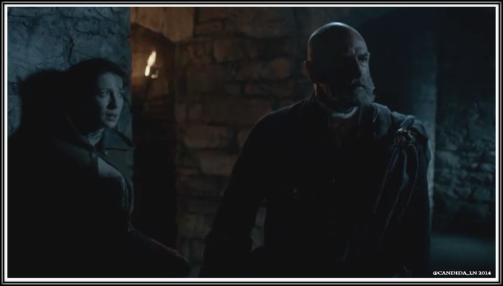 Dougal MacKenzie (Graham McTavish) to the rescue. Claire Randall (Caitirona Balfe)