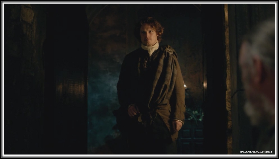 Jamie (Sam Heughan) enters Castle Leoch hall for the Gathering.