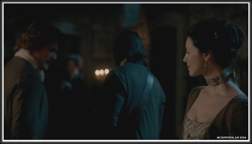 Jamie (Sam Heughan) and Murtagh (Duncan Lacroix) leave the hall. Claire (Caitriona Balfe).