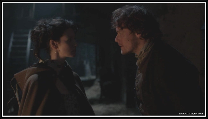 Jamie (Sam Heughan) catches Claire (Caitriona Balfe) in the stable.
