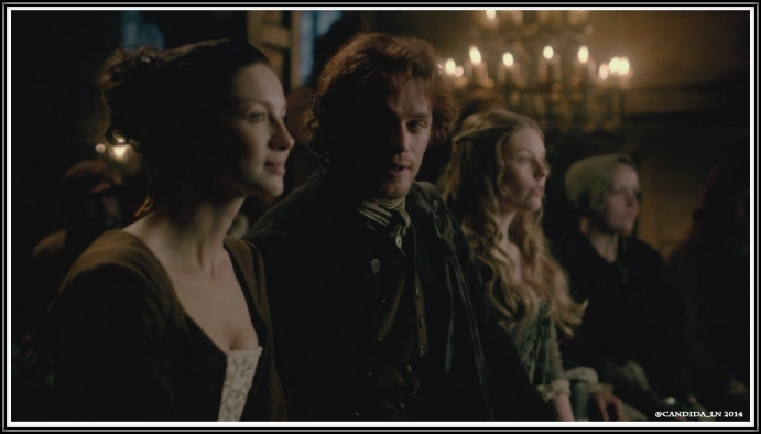 Jamie (Sam Heughan) on the fence between Mrs. Beauchamp (Caitriona Balfe) and Leery (Nell Hudson).