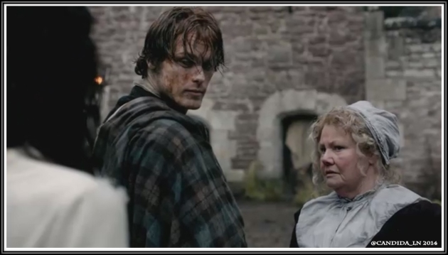 Jamie (Sam Heughan) and Mrs. FitzGibbons (Annette Badland) check out the English chick (Caitriona Balfe).