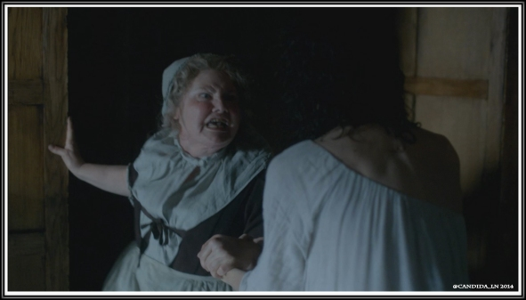 Mrs. Fitz (Annette Badland) accuses Claire (Caitriona Balfe) of being a witch. Some people . . . Dinna hate her because she's beautiful.