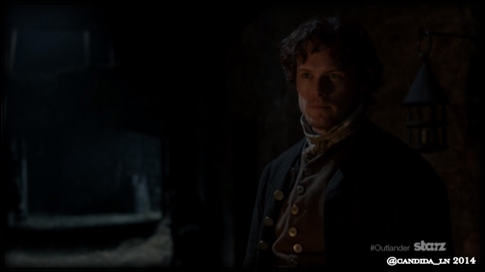 "Jamie Fraser (Sam Heughan) catching Claire trying to escape on the night of the ""The Gathering""?"
