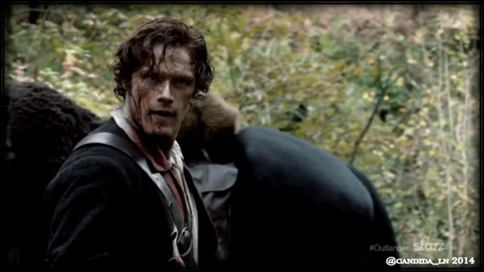 Jamie (Sam Heughan) tracking Claire down as she attempts to escape her Highlander captives.
